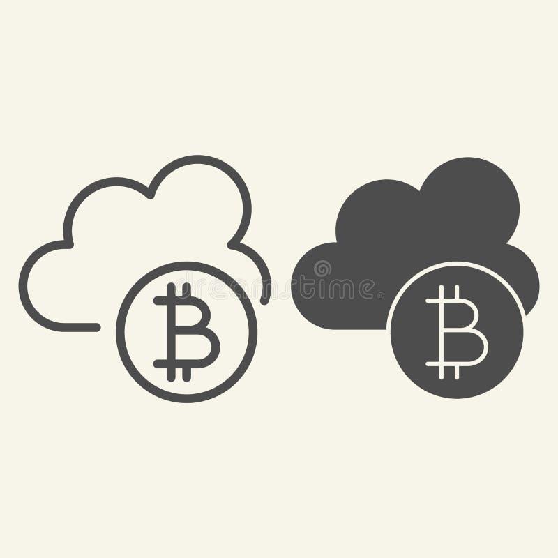Linea della nuvola di Cryptocurrency ed icona di glifo Bitcoin ed illustrazione di vettore della nuvola isolata su bianco Estrazi illustrazione vettoriale