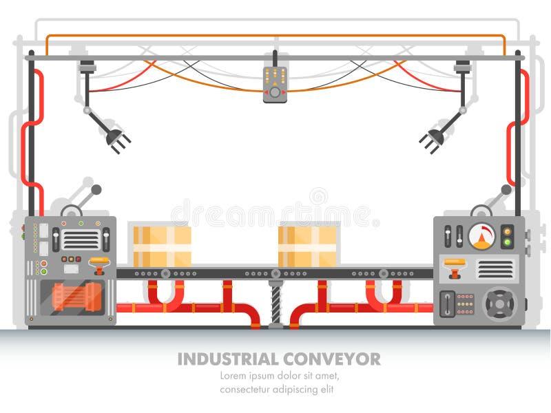 Linea della pianta di Moderna o nastro trasportatore della fabbrica illustrazione vettoriale