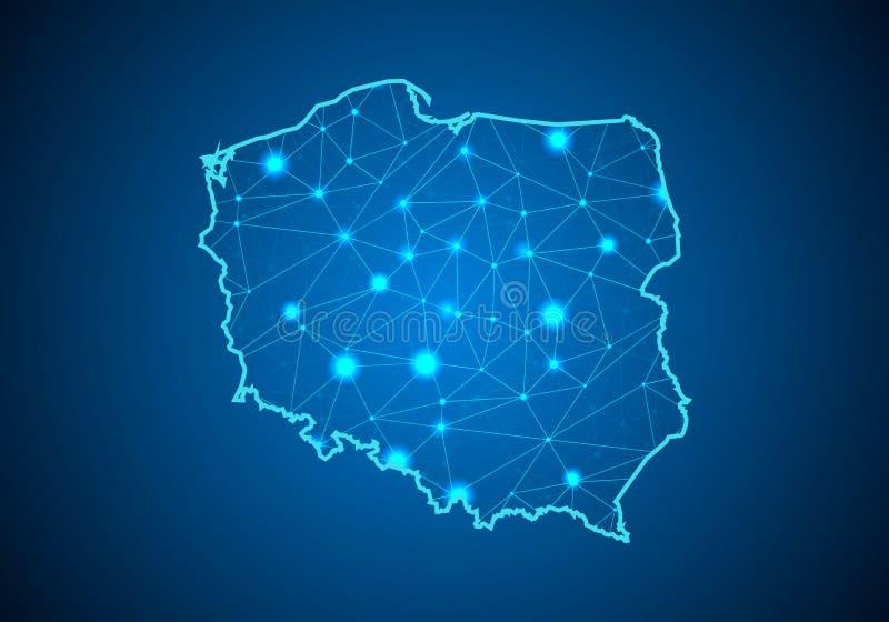 Linea della poltiglia e graduatorie a punteggio astratte su fondo scuro con la mappa della Polonia illustrazione vettoriale
