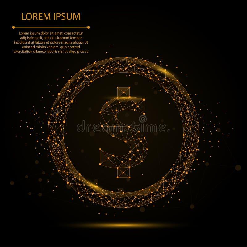 Linea della poltiglia e simbolo di dollaro astratti del punto Poli valuta bassa poligonale royalty illustrazione gratis