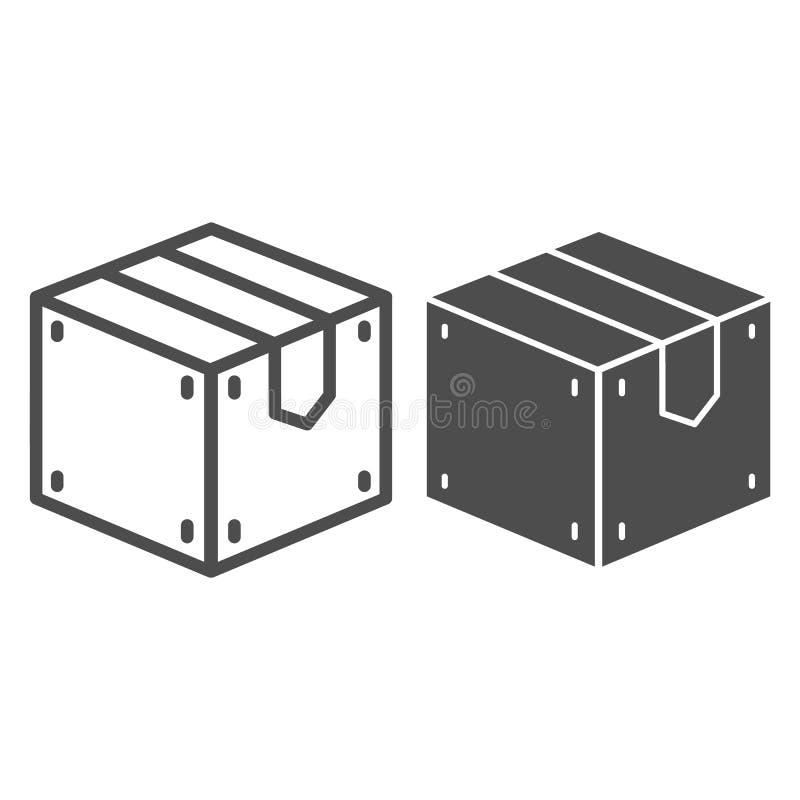 Linea della scatola di legno ed icona di glifo Illustrazione di vettore del carico isolata su bianco Progettazione di stile del p illustrazione di stock