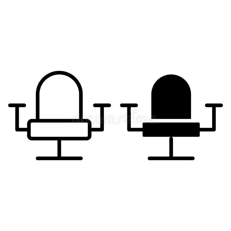 Linea della sedia dell'ufficio ed icona di glifo Illustrazione di vettore della poltrona isolata su bianco Progettazione di stile royalty illustrazione gratis