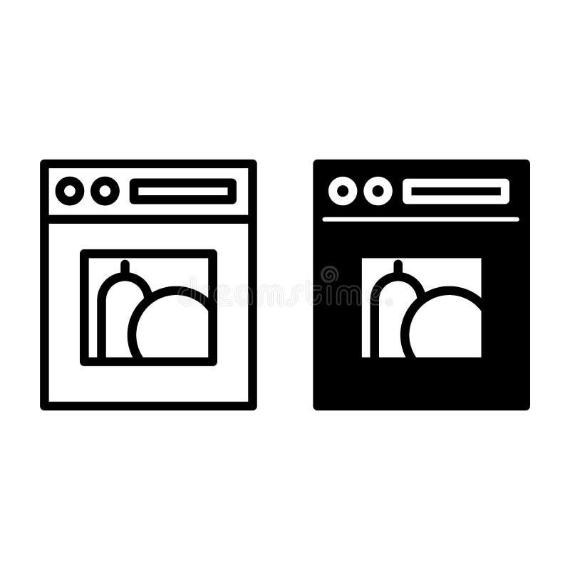 Linea della stufa ed icona di glifo Illustrazione di vettore del fornello isolata su bianco Progettazione di stile del profilo de royalty illustrazione gratis