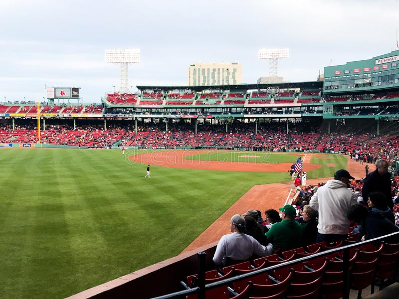Linea della terza base a Fenway Park, Boston, mA immagine stock