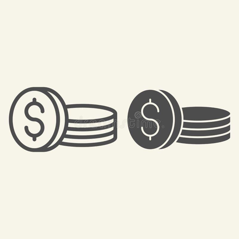 Linea delle monete ed icona di glifo Dollari di illustrazione di vettore isolata su bianco Progettazione di stile del profilo dei illustrazione vettoriale