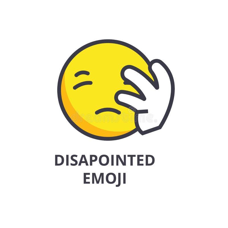 Linea deludente icona, segno, illustrazione di vettore di emoji su fondo, colpi editabili illustrazione vettoriale