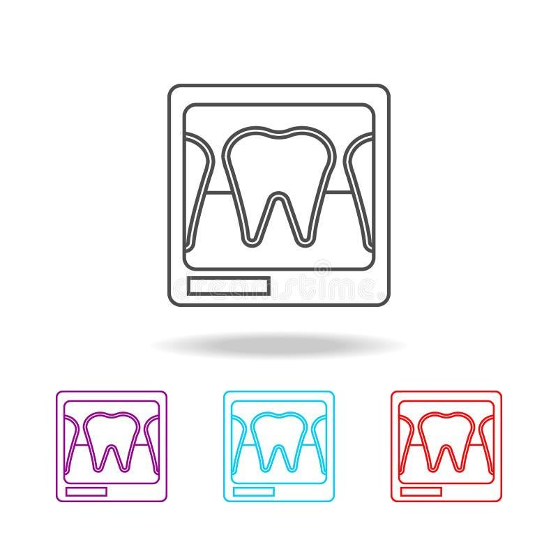 Linea dentaria icona dei raggi x Elementi degli strumenti medici nelle multi icone colorate Icona premio di progettazione grafica illustrazione di stock