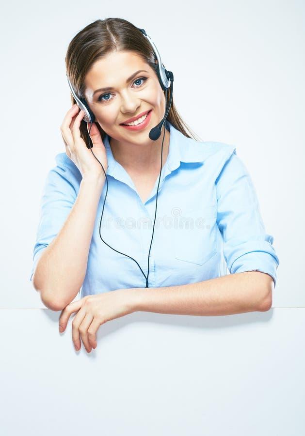 Linea di aiuto sorridente a trentadue denti operatore di servizio di assistenza al cliente immagine stock