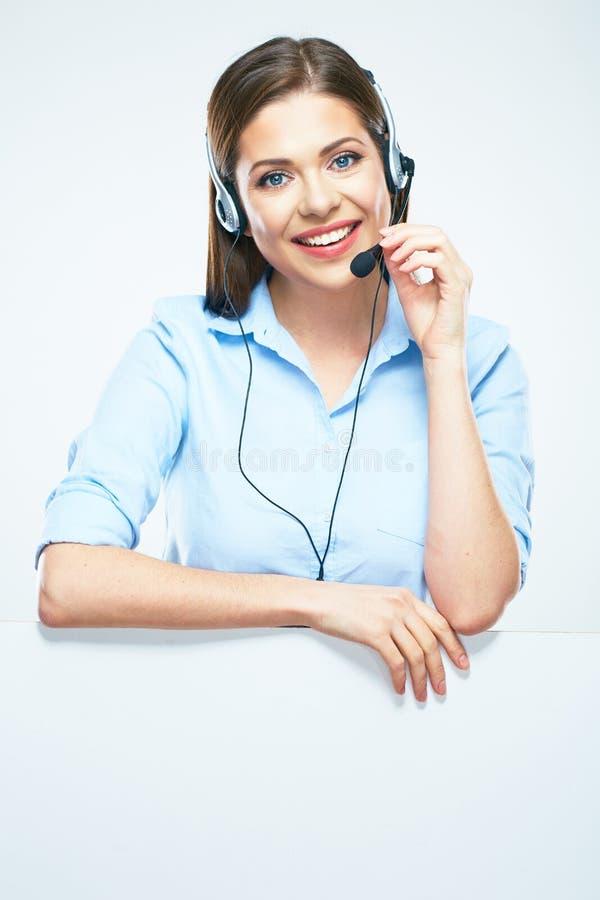 Linea di aiuto sorridente a trentadue denti operatore di servizio di assistenza al cliente fotografia stock