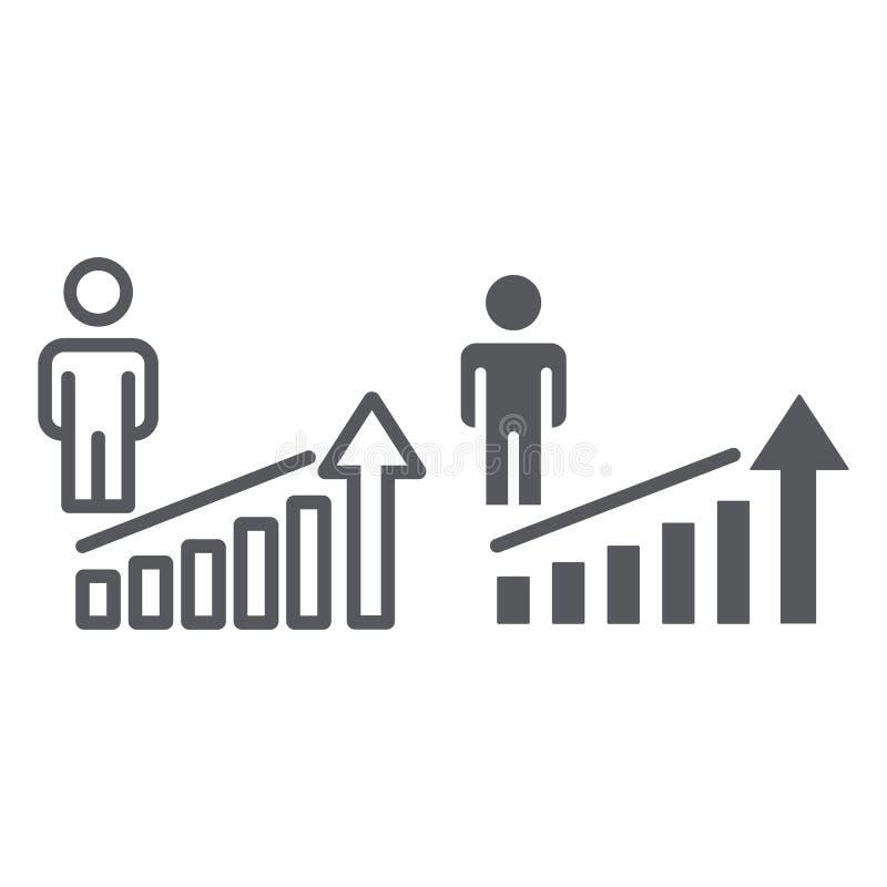 Linea di aumento di carriera ed icona di glifo, lavoro e progresso, segno di successo della persona, grafica vettoriale, un model illustrazione vettoriale