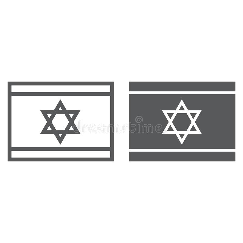 Linea di bandiera di Israele ed icona di glifo, cittadino e paese, segno israeliano della bandiera, grafica vettoriale, un modell illustrazione vettoriale