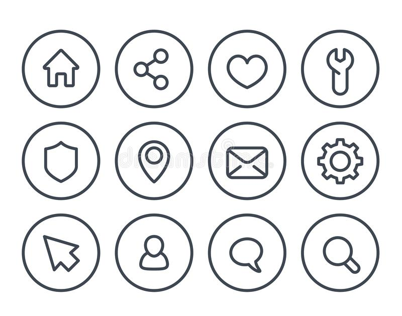 Linea di base icone per il web ed i apps royalty illustrazione gratis