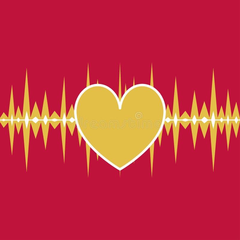 Linea di battito cardiaco di divertimento Musica illustrazione di stock
