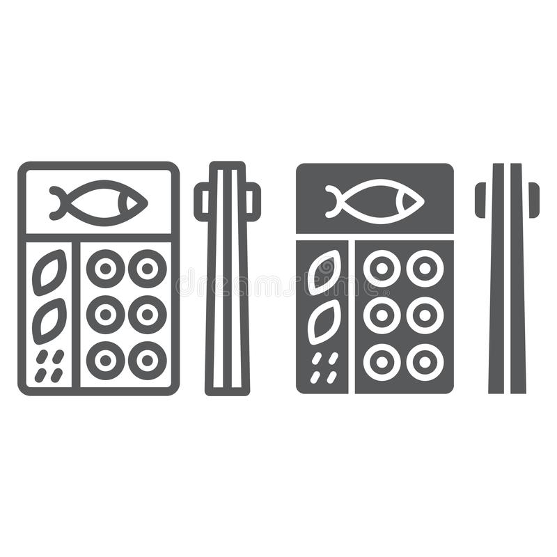 Linea di bento ed icona di glifo, asiatico ed alimento, segno giapponese della scatola di pranzo, grafica vettoriale, un modello  illustrazione di stock
