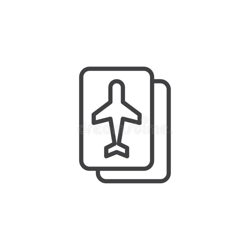 Linea di biglietto di linea aerea icona illustrazione vettoriale