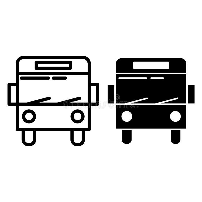 Linea di bus della città ed icona di glifo Illustrazione di vettore del bus del passeggero isolata su bianco Progettazione di sti illustrazione di stock