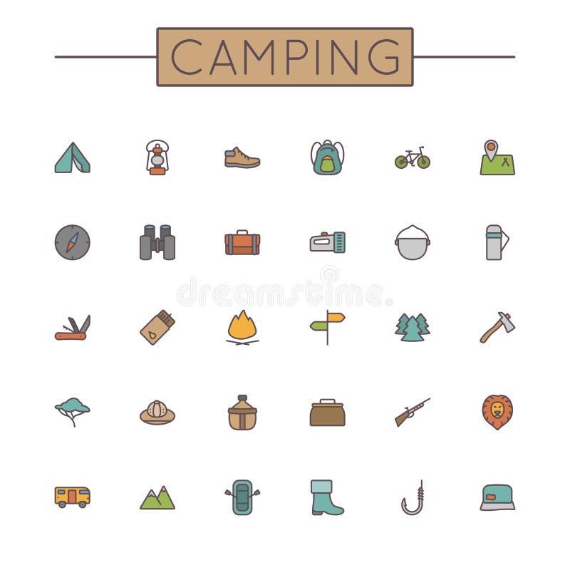 Linea di campeggio colorata vettore icone illustrazione vettoriale