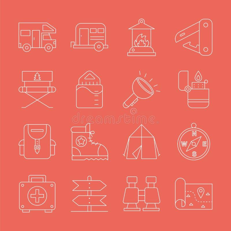 Linea di campeggio insieme dell'icona immagine stock libera da diritti