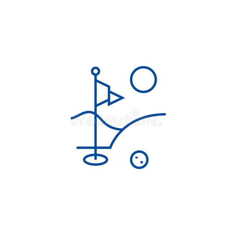 Linea di campo di golf concetto dell'icona Simbolo piano di vettore del campo di golf, segno, illustrazione del profilo royalty illustrazione gratis