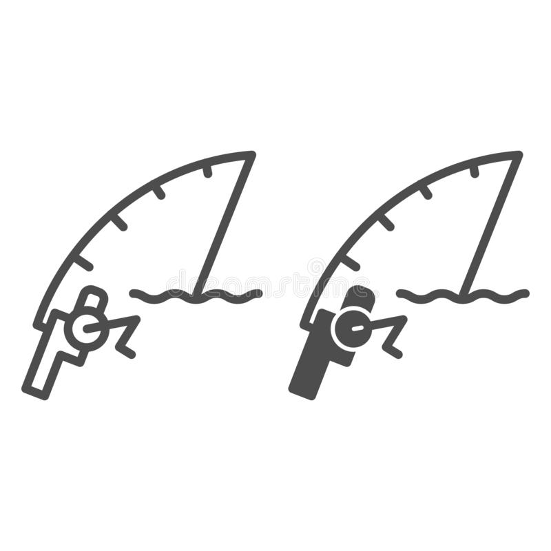 Linea di canna da pesca ed icona di glifo Illustrazione di filatura di vettore isolata su bianco Progettazione di stile del profi royalty illustrazione gratis