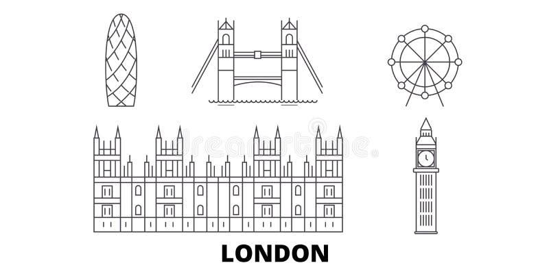 Linea di città del Regno Unito, Londra insieme dell'orizzonte di viaggio Illustrazione di vettore della città del profilo della c royalty illustrazione gratis