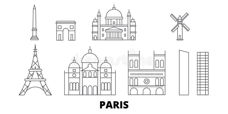 Linea di città della Francia, Parigi insieme dell'orizzonte di viaggio Illustrazione di vettore della città del profilo della cit royalty illustrazione gratis