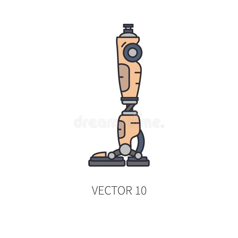 Linea di colore bionica della protesi della gamba del robot icona Arto bionico della protesi Medicina futuristica di biotecnologi illustrazione di stock