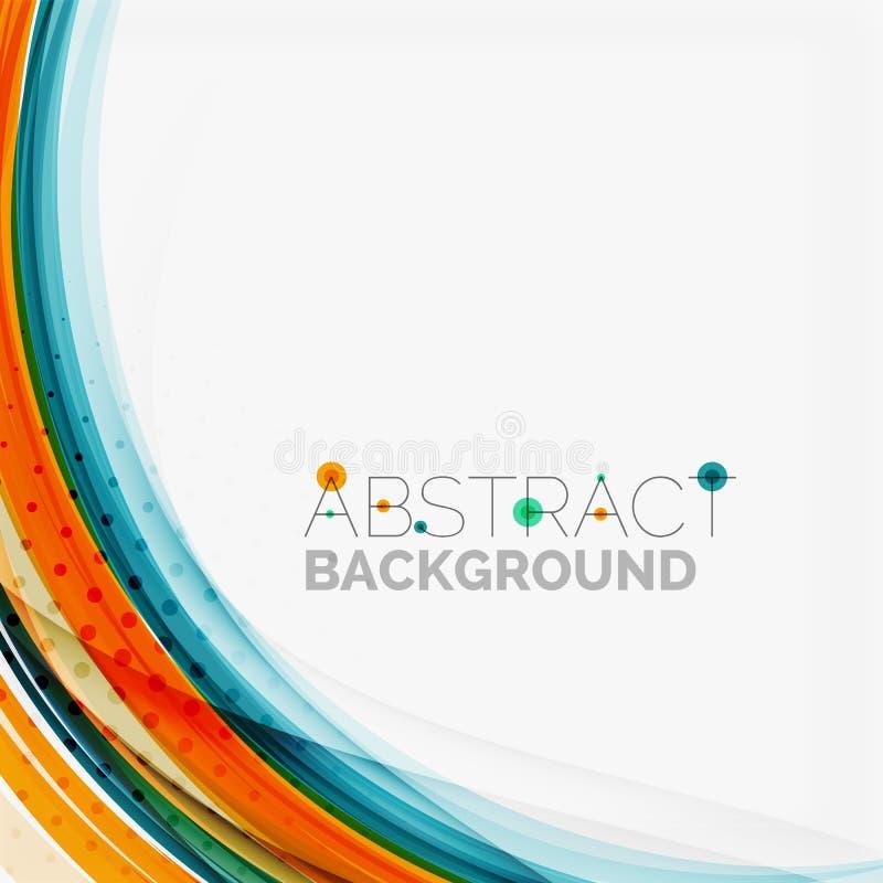 Linea di colore blu ed arancio fondo dell'estratto illustrazione di stock