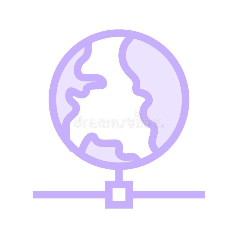 Linea di colore della rete globale icona illustrazione di stock