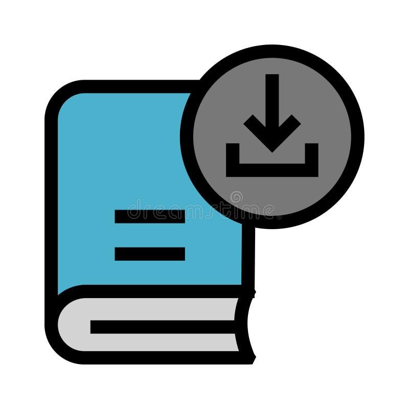 Linea di colore di download del libro icona illustrazione vettoriale