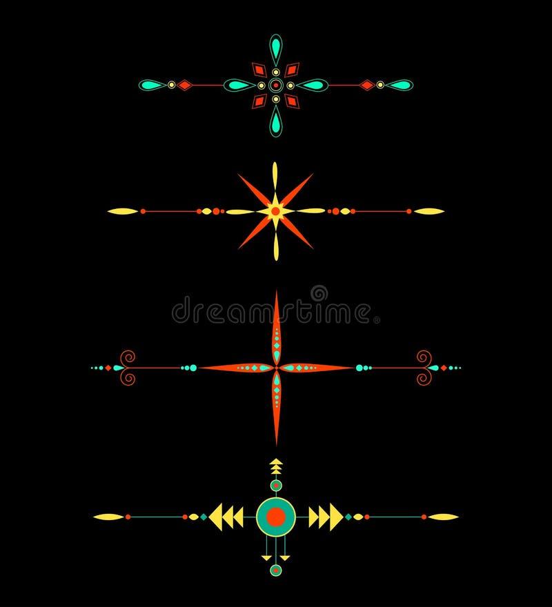 Linea di colore etnica dei divisori ornamentali raccolta della decorazione della pagina illustrazione vettoriale