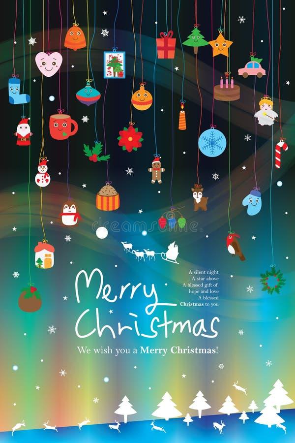 Linea di colore di giorno di Natale effetto di verticale dell'elemento di caduta royalty illustrazione gratis