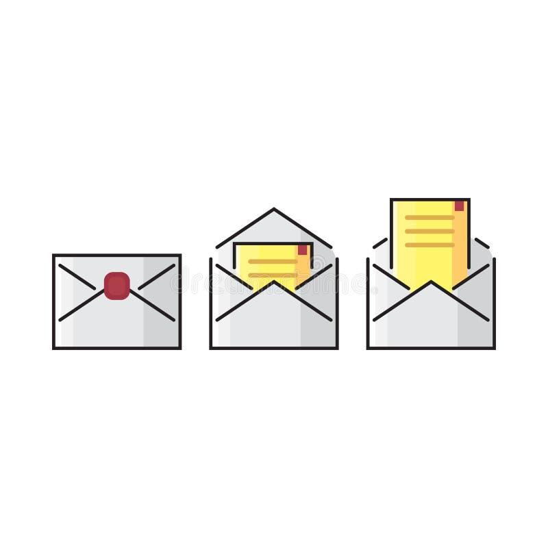 Linea di colore icona della posta della busta Adatto perfetto del pixel piano variopinto di vettore a web ed a stampa illustrazione di stock