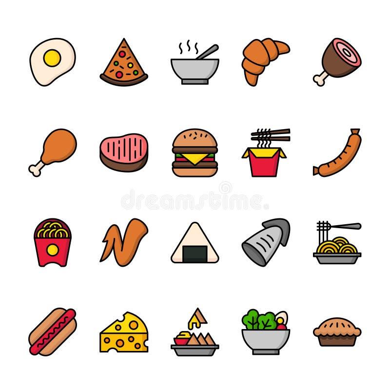 Linea di colore insieme dell'icona di alimento Icone perfette del pixel illustrazione vettoriale