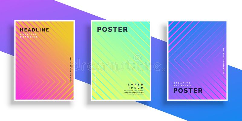 Linea di colore luminosa vibrante insieme di progettazione del manifesto del modello illustrazione di stock