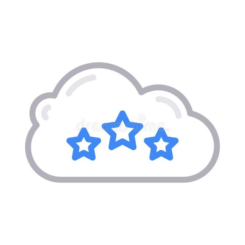 Linea di colore sottile di valutazione della nuvola icona di vettore illustrazione vettoriale