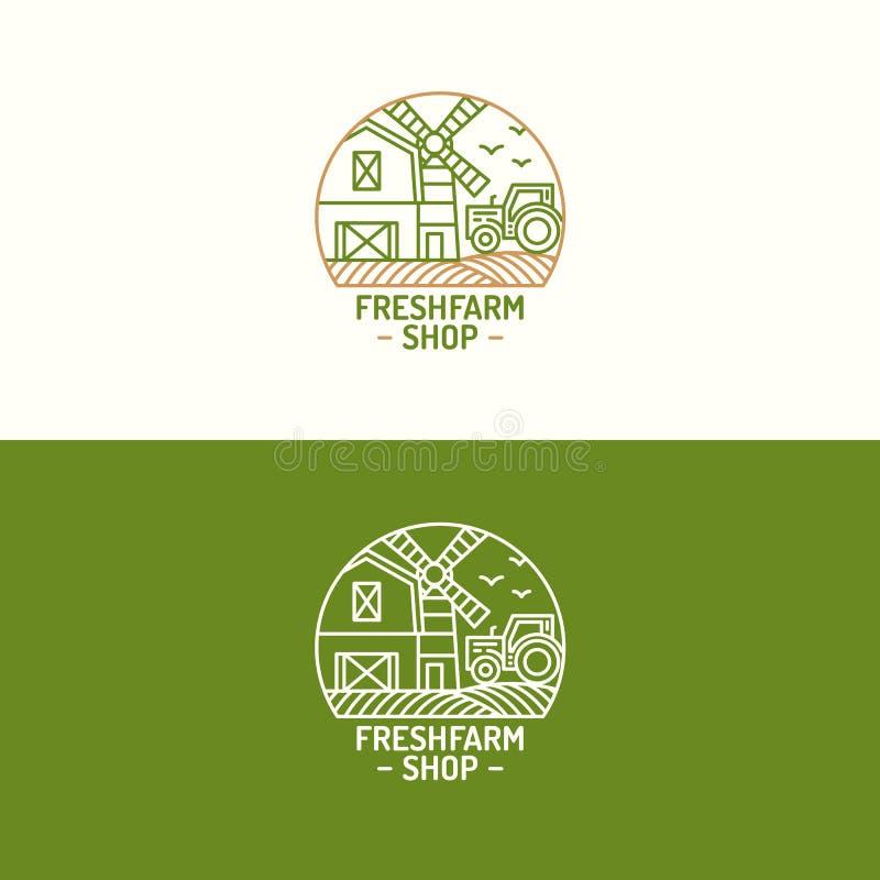 Linea di colore stabilita dell'azienda agricola di logo fresco del negozio con il paesaggio dell'azienda agricola per il natu illustrazione vettoriale