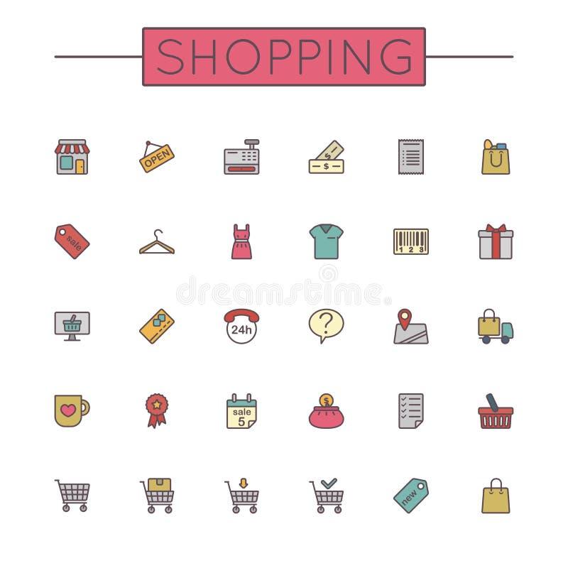 Linea di compera colorata vettore icone illustrazione di stock