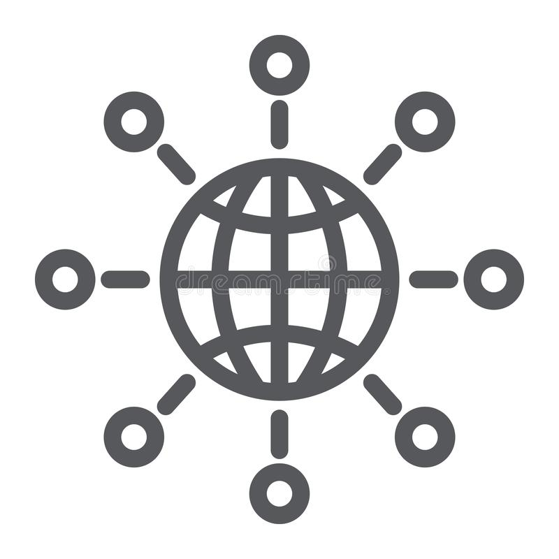Linea di comunicazione internazionale icona, mondo e collegarsi, segno globale del collegamento, grafica vettoriale, un modello l illustrazione vettoriale
