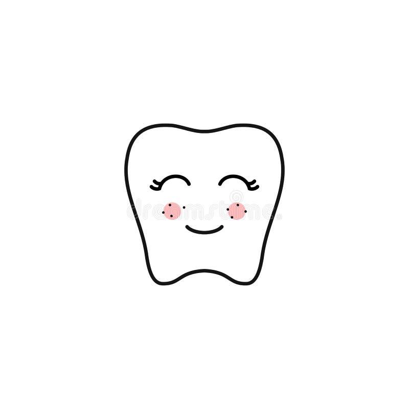 Linea di contorno del dente di Kawaii Illustrazione di vettore del fronte felice del dente isolato su fondo bianco illustrazione vettoriale