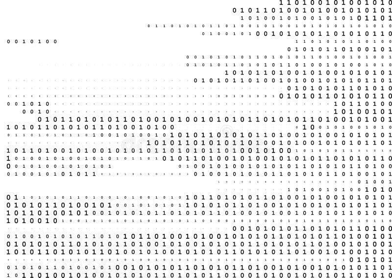 Linea di corrente fondo in bianco e nero di codice binario con due cifre binarie, 0 e 1 isolate su un fondo bianco illustrazione di stock
