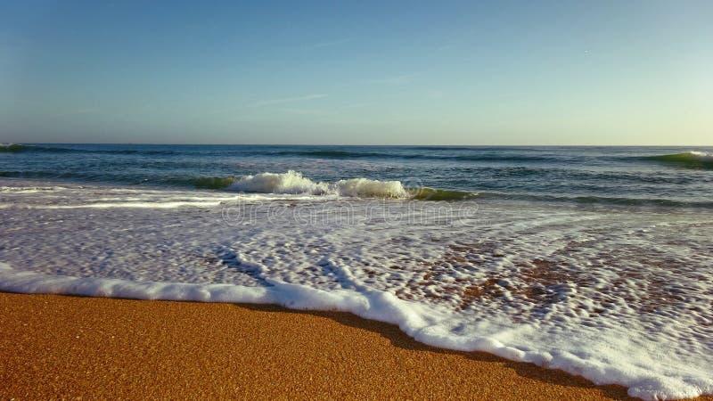 Linea di costa della schiuma del mare sulla sabbia immagine stock