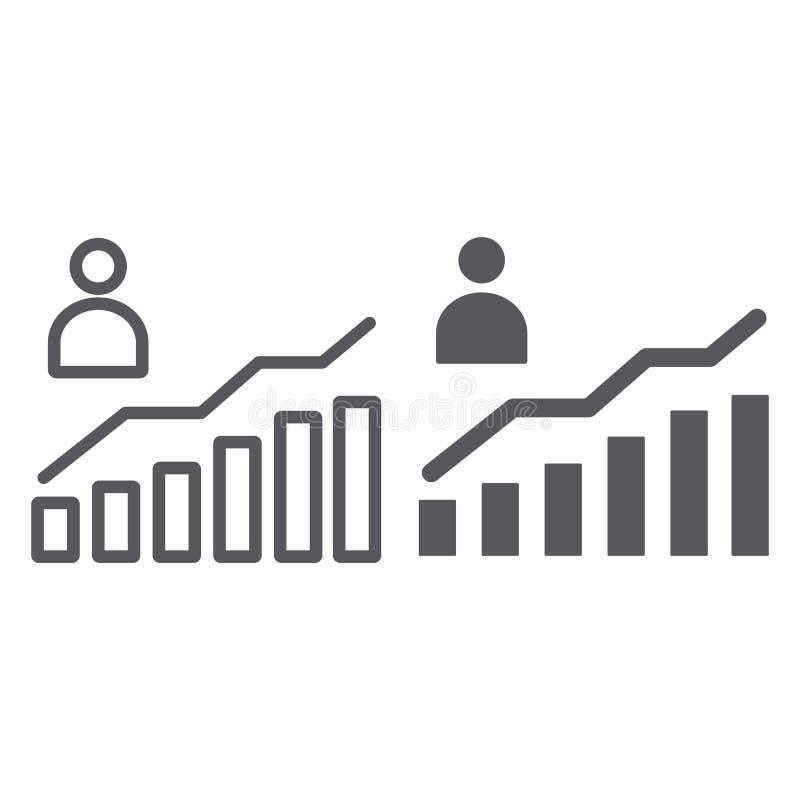 Linea di crescita di carriera ed icona di glifo, aumento e segno del diagramma, della persona e del grafico, grafica vettoriale,  illustrazione di stock