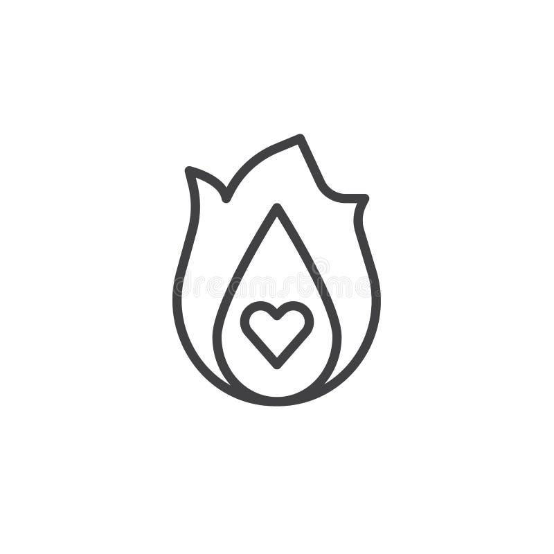 Linea di cuore bruciante icona royalty illustrazione gratis