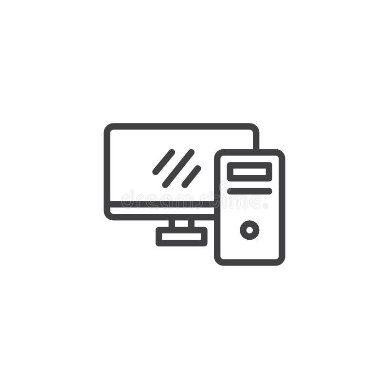 Linea di desktop computer icona illustrazione di stock