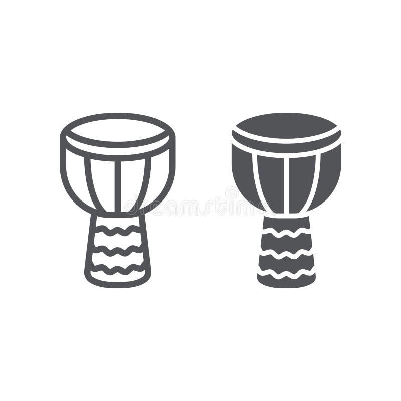 Linea di Djembe ed icona di glifo, musica e strumento, segno del tamburo, grafica vettoriale, un modello lineare su un fondo bian illustrazione di stock