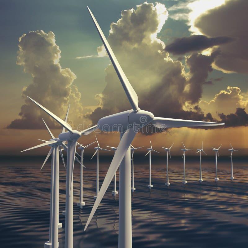 Linea di generatori eolici o di parco eolico illustrazione di stock