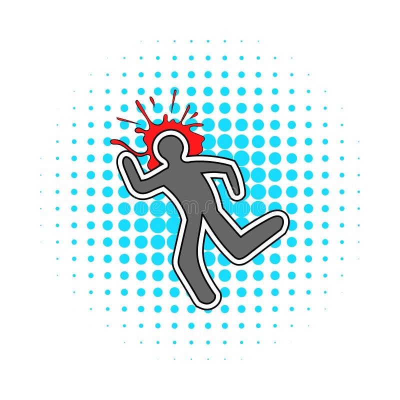Linea di gesso e un'icona dello splat del sangue, stile dei fumetti illustrazione di stock