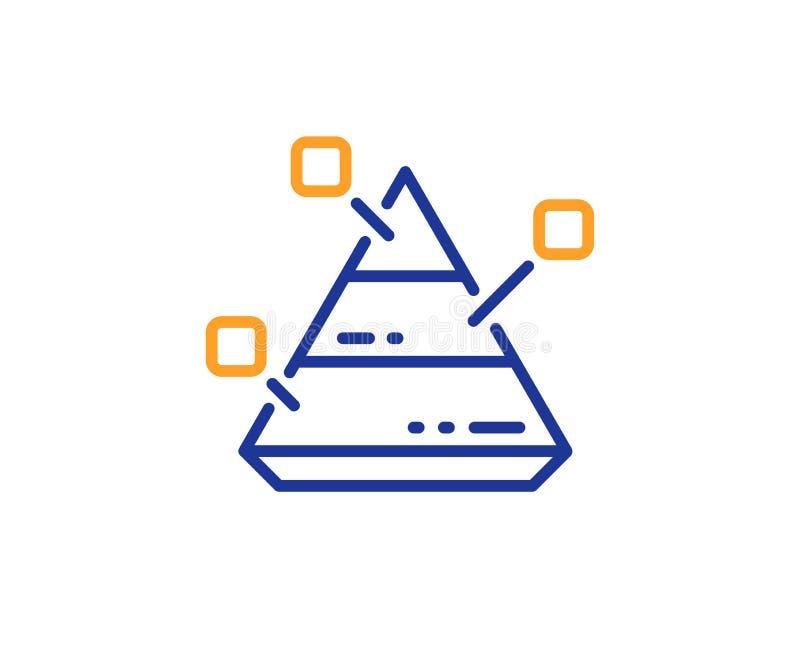 Linea di grafico della piramide icona Segno del grafico di analisi dei dati Vettore illustrazione di stock