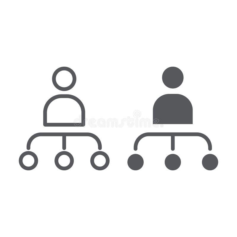 Linea di grafico e della persona ed icona di glifo, lavoratore e diagramma, segno della struttura, grafica vettoriale, un modello illustrazione di stock